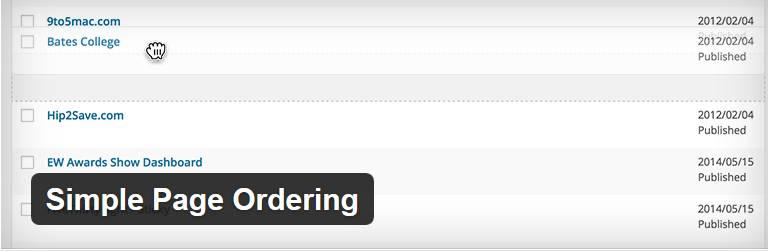 افزونه Simple Page Ordering